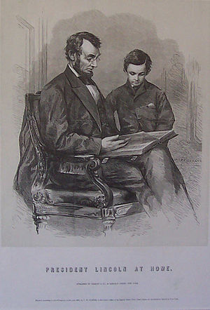 Drawing of Abraham Lincoln and son Tad, based ...