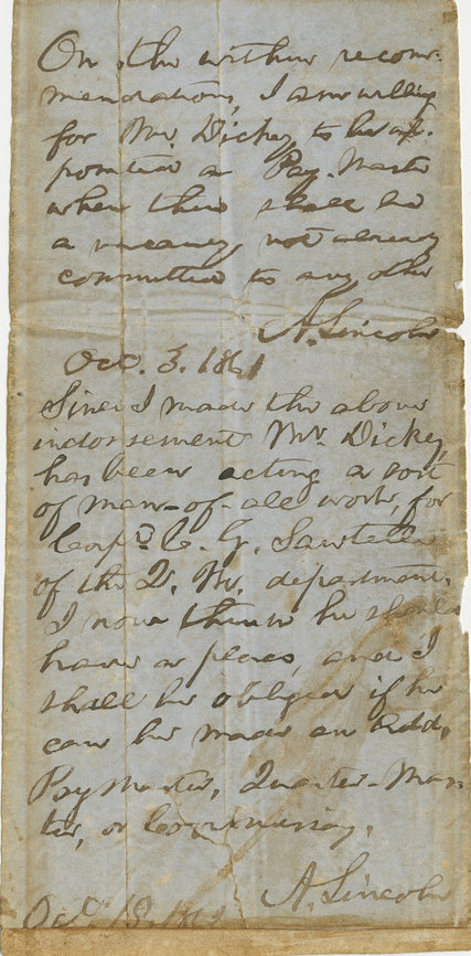A document containing two endorsements of President Lincoln, one to Secretary of War Simon Cameron and another a year later to his replacement, Secretary of War Edwin Stanton.
