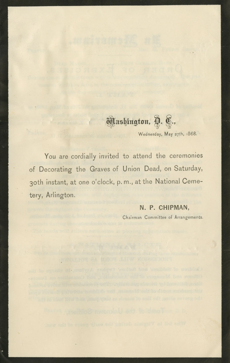 The invitation to the first formal Memorial Day, at Arlington Cemetery