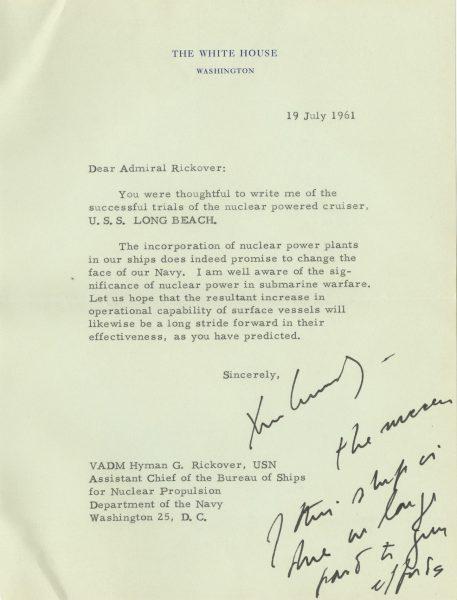President John F  Kennedy Informs Admiral Hyman Rickover