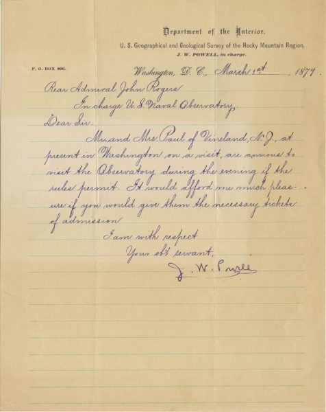 John Wesley Powell Letter Signed 1879 | The Raab Collection