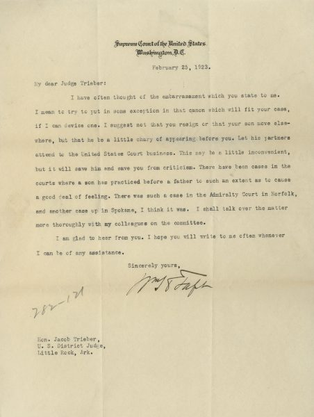 Taft Typed Letter Signed to Trieber | The Raab Collection