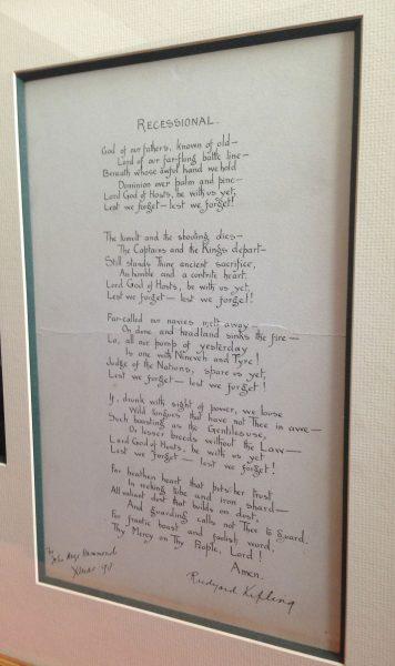 Rudyard Kipling Manuscript Signed Of His Poem Recessional