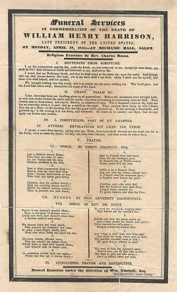 Sold - Program For Funeral Services of William Henry