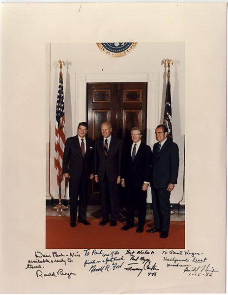 Ronald Reagan Carter Ford Bush Richard Nixon Autograph 8 x 10 Photo Photograph a
