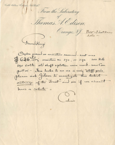 Thomas Edison Signed Letter Trust | Raab Collection
