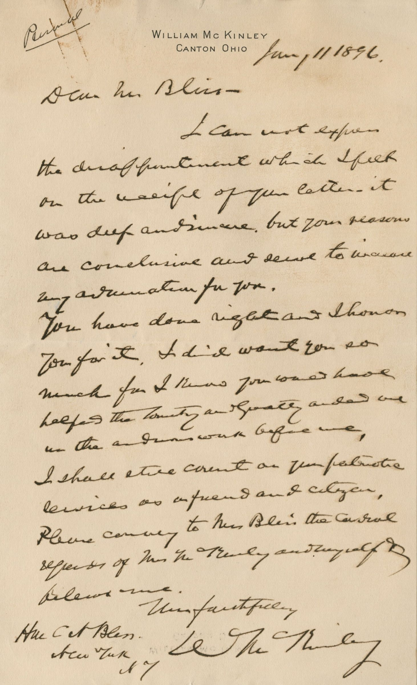 """Authentic Letter from William McKinley, Soon to Be President, Movingly Speaks of """"the arduous work before me"""""""