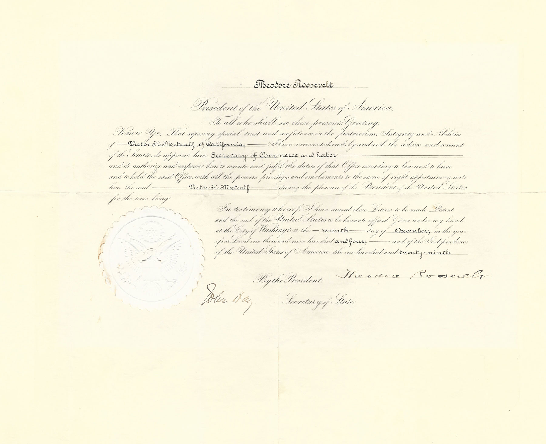 Authentic Document of President Theodore Roosevelt Appointing Victor H. Metcalf Secretary of Commerce and Labor