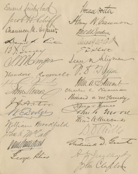 Authentic Document from New York's Most Powerful Business and Political Men in the Glittering Age of McKinley