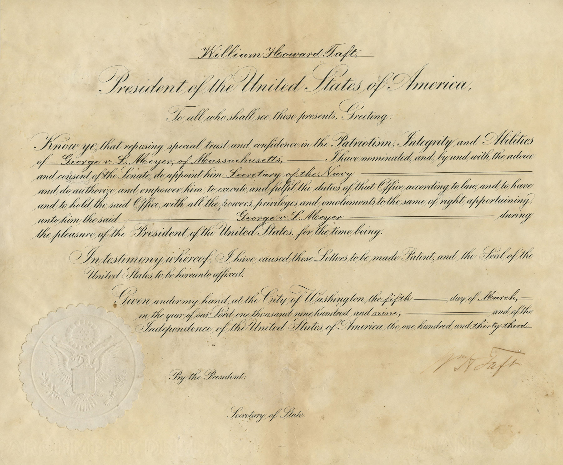 Authentic Document of President William H. Taft Appointing George L. Meyer Secretary of the Navy