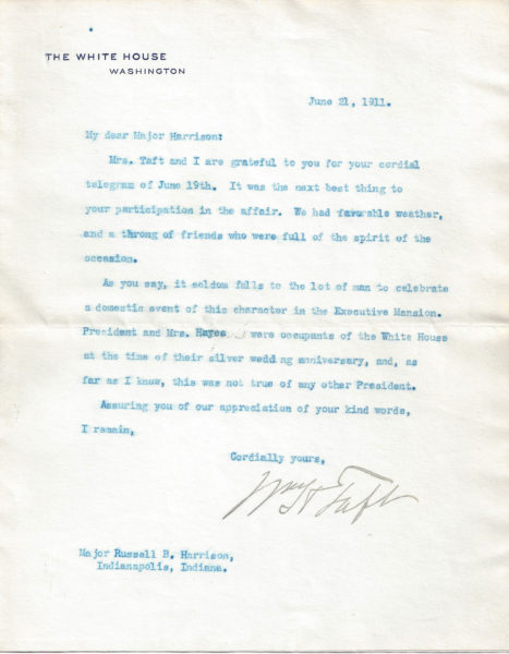 William H  Taft Letter Signed 25th Wedding Anniversary Party at the