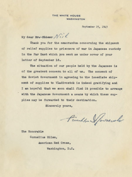 Authentic Document of President Franklin D. Roosevelt Informing the American Red Cross of a Plan Afoot to Supply American Prisoners of War Held in Japanese Camps