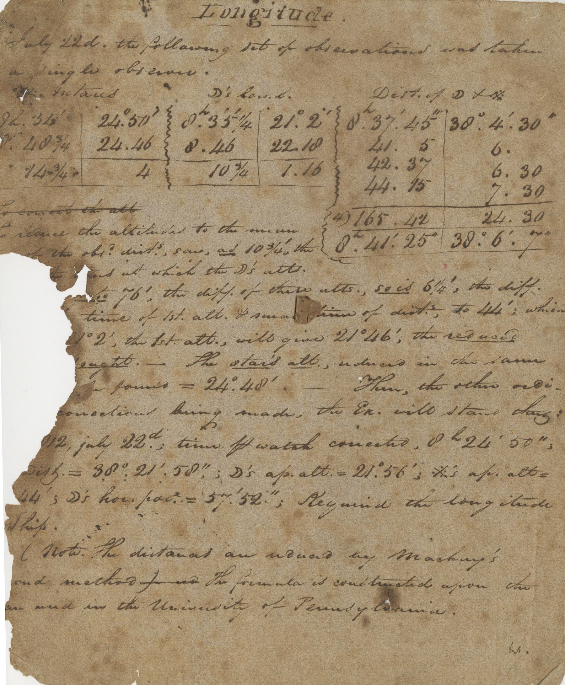 Robert M. Patterson's Manuscript of Observations and Calculations Relating to Time, Longitude and Latitude