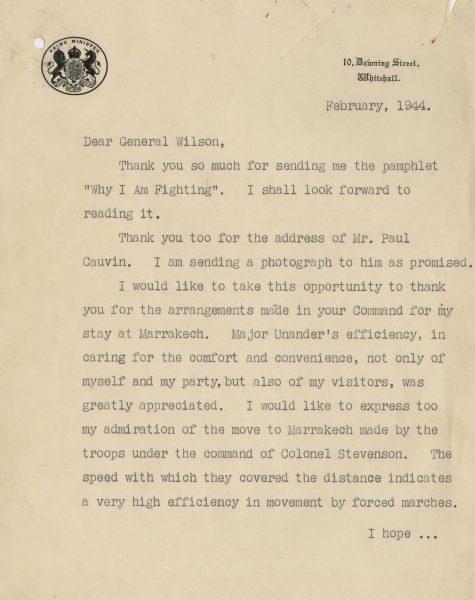 Winston Churchill Letter Signed Praising U S  Troops   Raab
