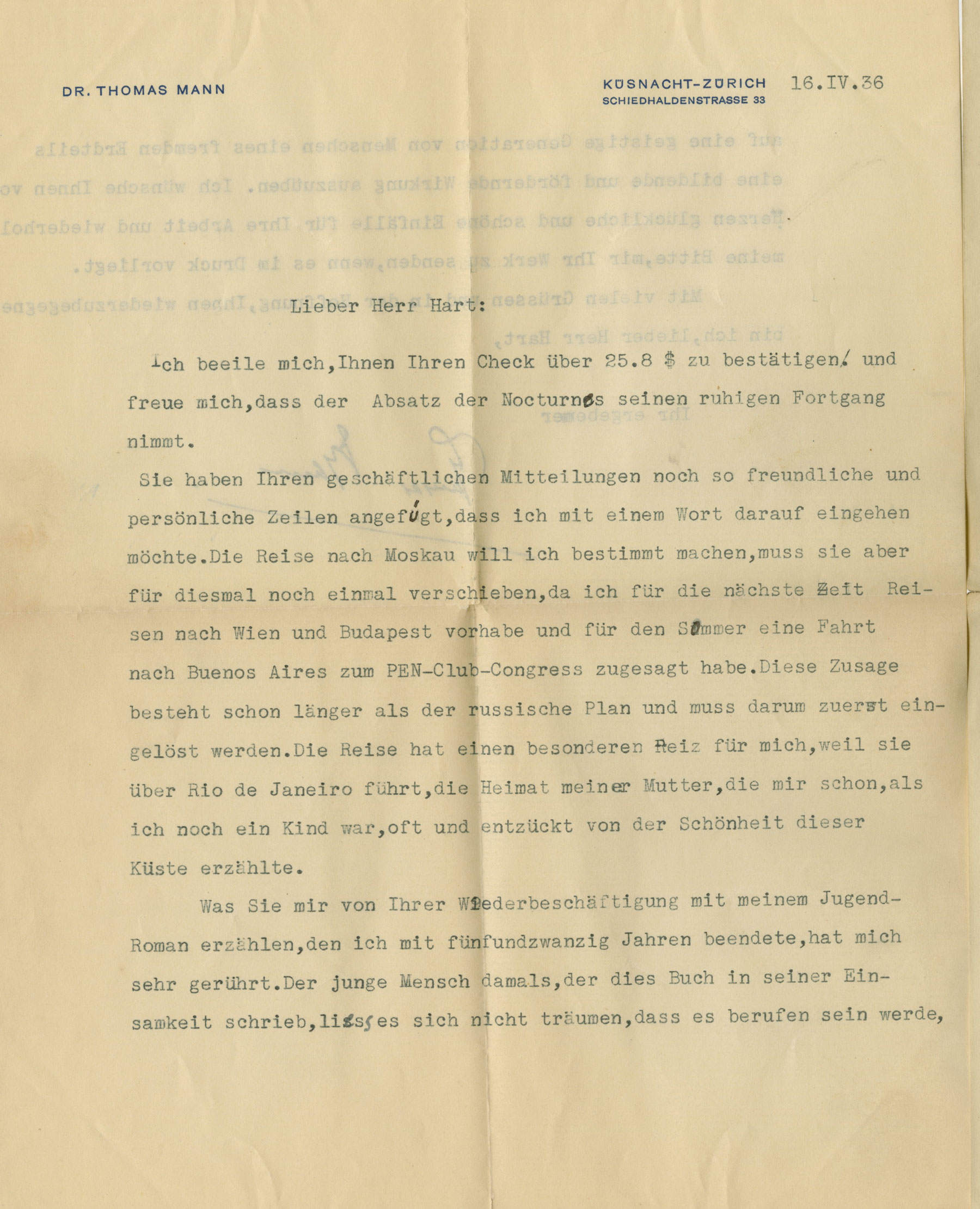 Thomas Mann Letter Signed Reflects on the Impact of his Work