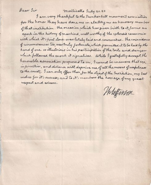 Thomas Jefferson Letter Signed on the History of Mankind | Raab
