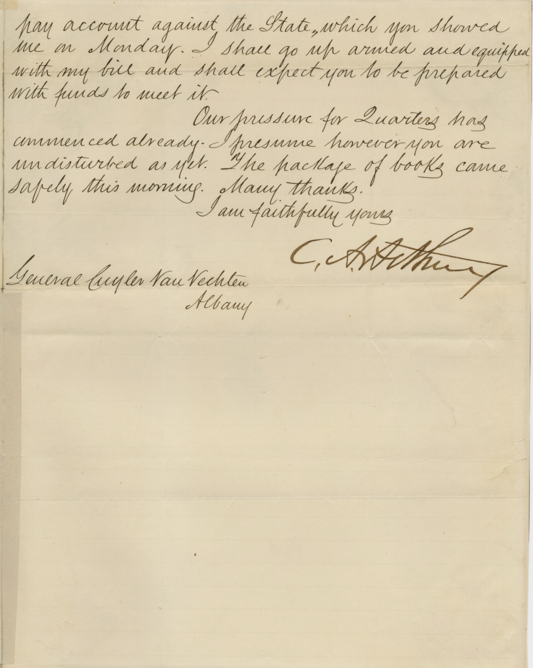 Chester A. Arthur Signed Letter New York State Troops Civil War | Raab