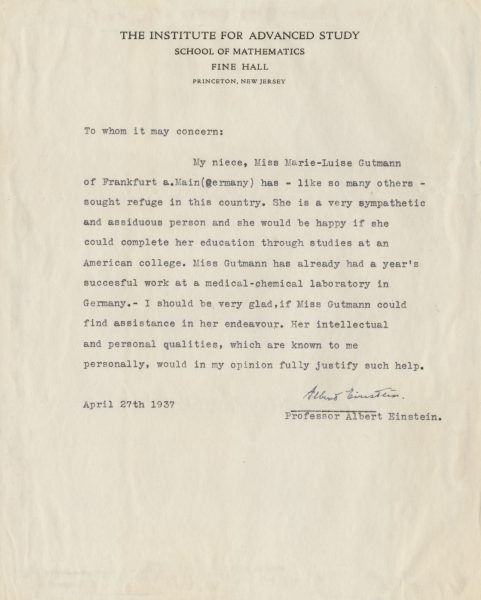 Einstein Letter Signed Raab Collection
