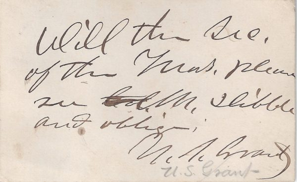 Ulysses S. Grant Signed Note to His Secretary of the Treasury | Raab