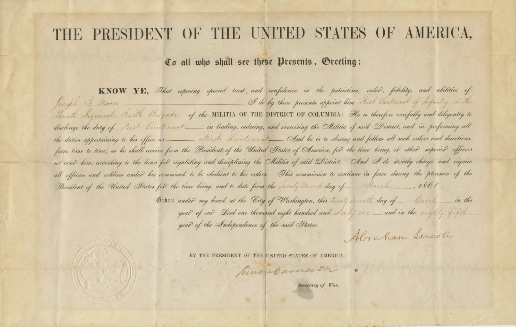 Lincoln Signed Document Raab Collection
