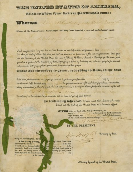 Andrew Jackson Signed Document Sausage Cutting Machine