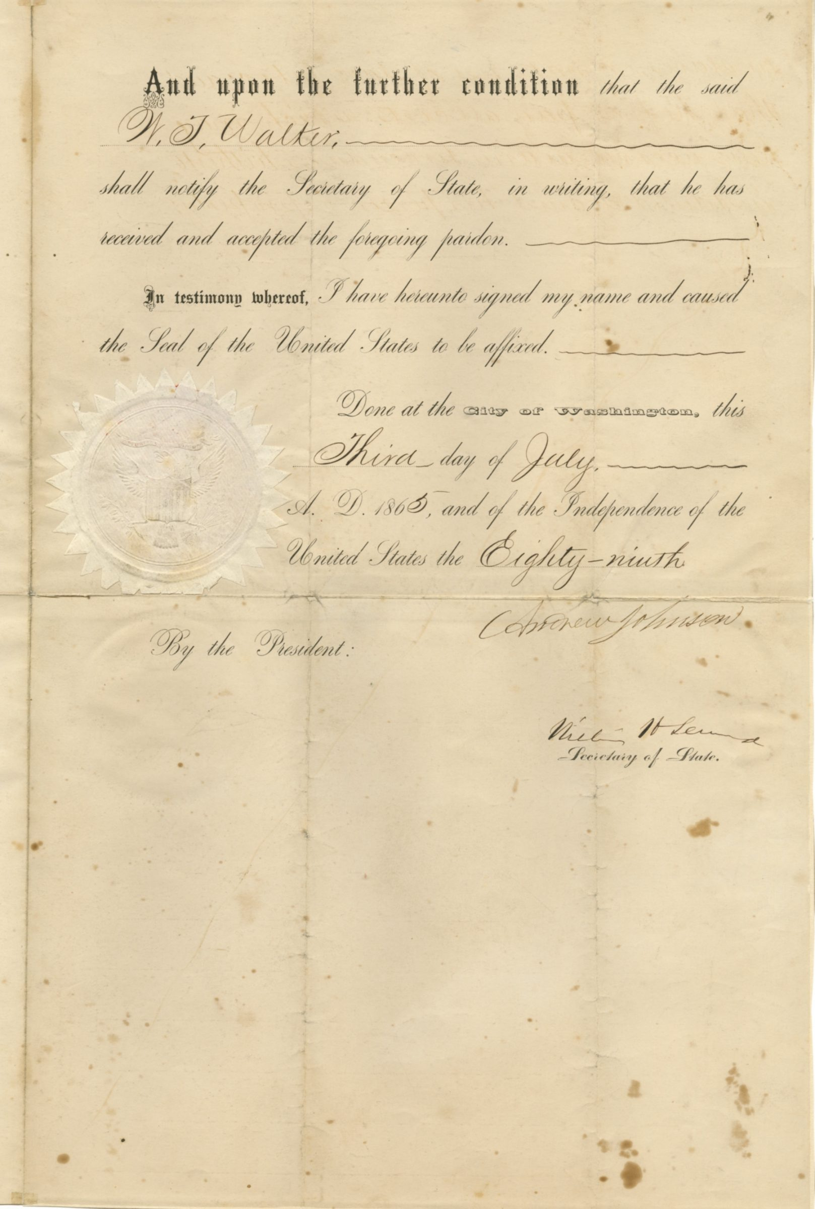 Andrew Johnson Signed Document